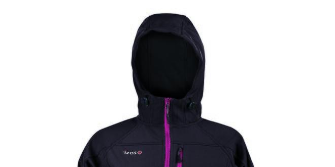 Dámská softshellová černá bunda s barevným zipem Izas
