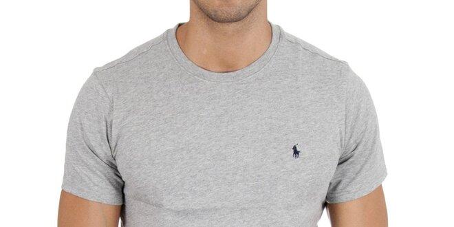 42545029a1 Pánské světle šedé tričko Polo Ralph Lauren