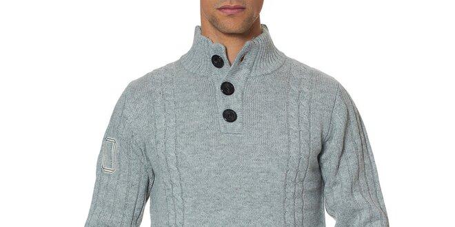 Pánský šedý svetr s knoflíky Paul Stragas 36c7ad2661