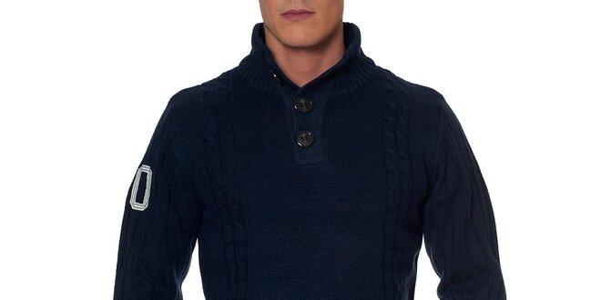 Pánský tmavě modrý svetr s knoflíky Paul Stragas  9fbc248c74
