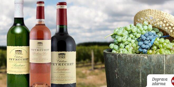 1 nebo 3 lahve kvalitního vína z oblasti Bordeaux