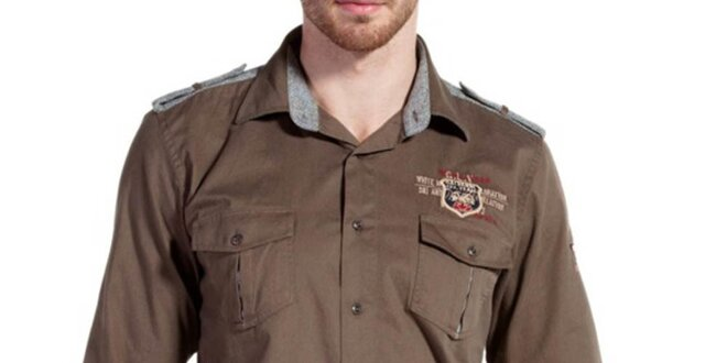 Pánská hnědá košile s náprsními kapsami Galvanni