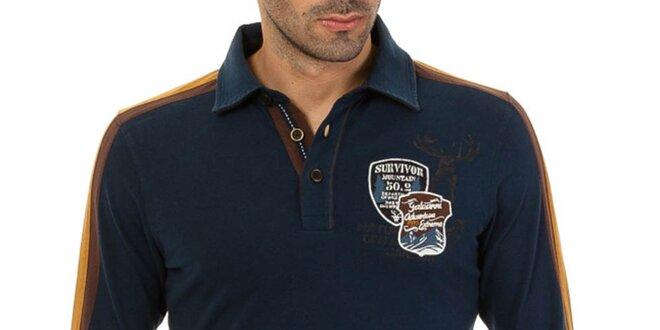Pánské tmavě modré polo triko s pruhy na rukávech Galvanni