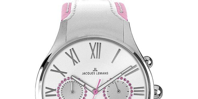 Dámské stříbrno-růžové hodinky Jacques Lemans  56055d53fe