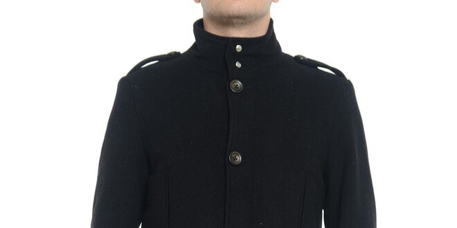 Pánský černý kabát s knoflíky Vera Ravenna