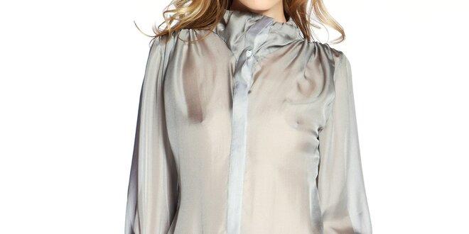 725537e3c34 Dámská šedá hedvábná košile v prodloužené délce Lora Gene