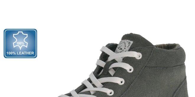 Pánské šedé tenisky s bílou tkaničkou Beppi