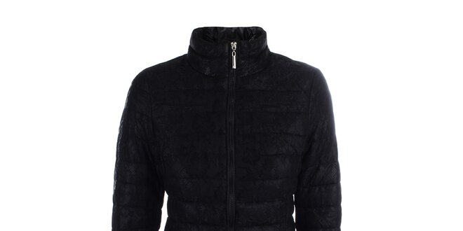 Dámský černý prošívaný kabát s krajkou B.style