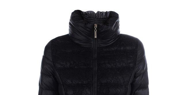 Dámská černá prošívaná bunda s krajkou B.style