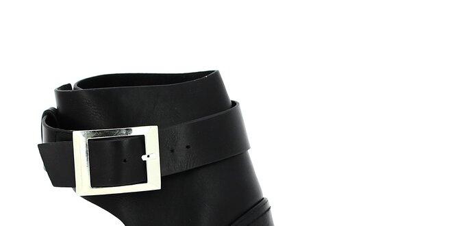 Dámské černé boty se stříbrnou přezkou Shoes and the City