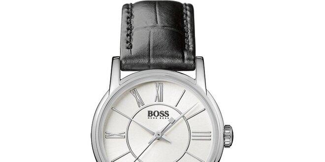Dámské kulaté analogové hodinky s koženým řemínkem Hugo Boss