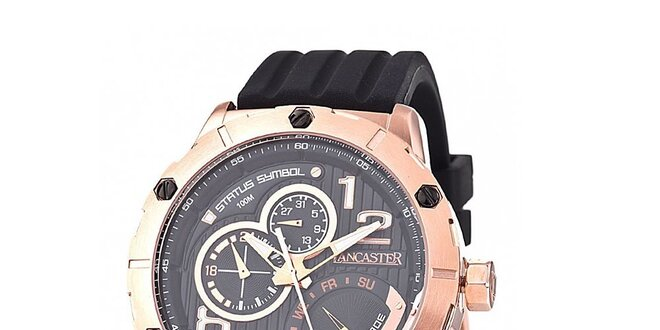 Pánské zlato-černé hodinky Lancaster s černým silikonovým řemínkem ... 08dfc2fbbd