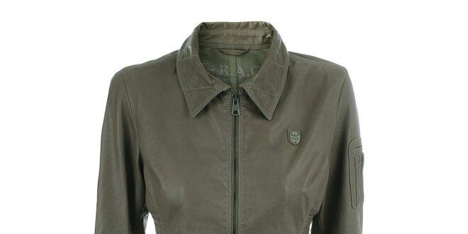 Dámská kožená bunda s klopovými kapsami Aeronautica Militare