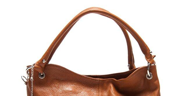 Dámská koňakově hnědá kabelka se dvěma uchy Roberta Minelli