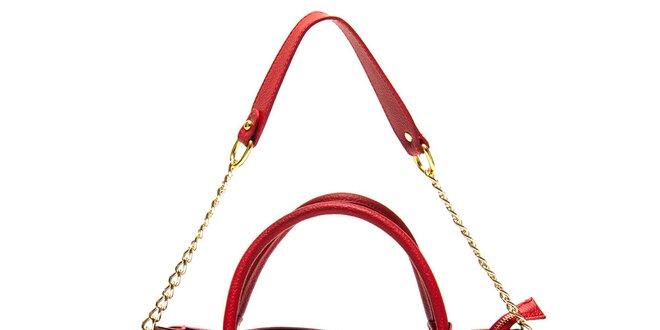 Dámská červená kabelka s řetízkem Roberta Minelli