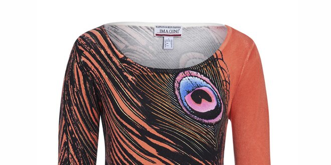 Dámský oranžový svetřík s potiskem pavích per Imagini