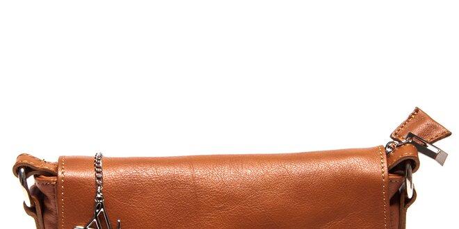 Dámská kožená koňaková aktovka přes rameno Luisa Vannini