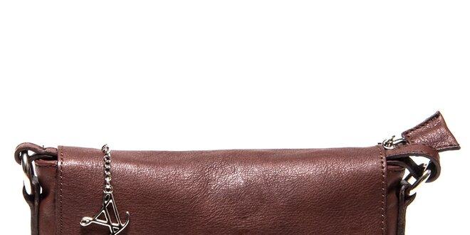 Dámská kožená hnědá aktovka přes rameno Luisa Vannini