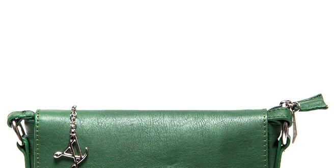 Dámská kožená zelená aktovka přes rameno Luisa Vannini