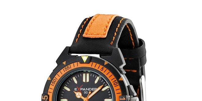 Pánské černo-oranžové ocelové hodinky Sector s koženým řemínkem ... ca8e8dc5fb