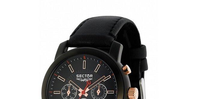 Pánské černé ocelové hodinky Sector s koženým řemínkem a zlatými detaily c73b8f6b1b