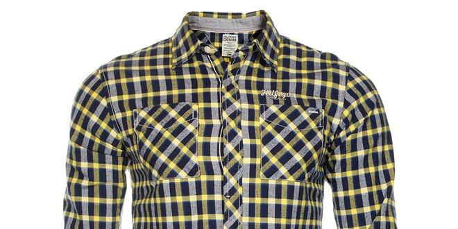 7180bf99a7e Pánská modro-žlutá kostkovaná košile Tommy Hilfiger