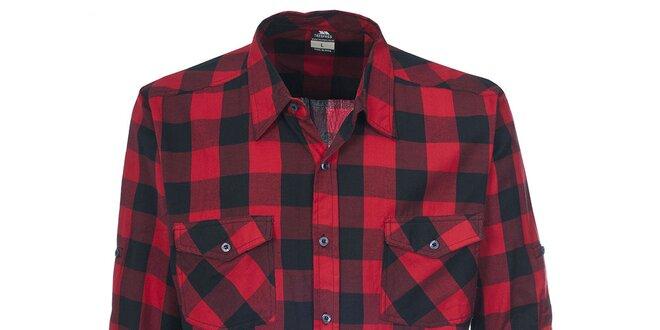 Pánská červená košile s kostkovaným vzorem Trespass