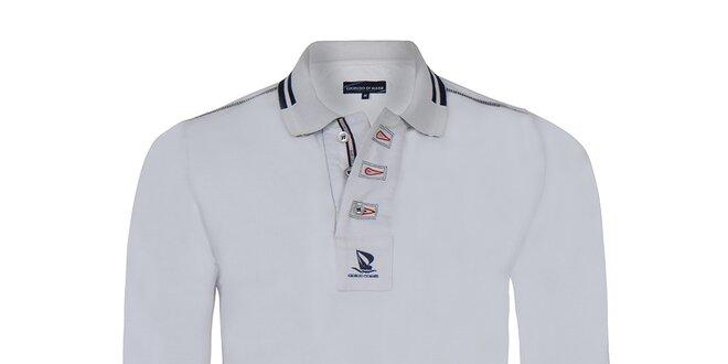 Pánské bílé polo tričko s dlouhým rukávem Giorgio Di Mare