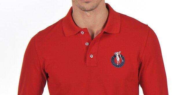 Pánské červené bavlněné polo tričko Giorgio Di Mare