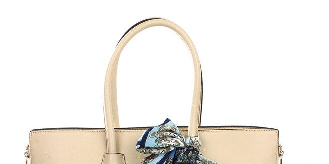 Dámská smetanová kabelka se šátkem Gessy