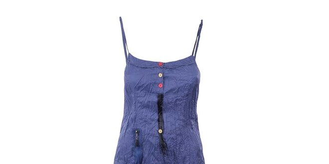 Dámské modré šaty s mačkaným efektem Dislay DY Design