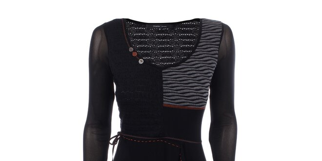 Dámské černé šaty s kontrastním prošíváním a knoflíčky Dislay DY Design