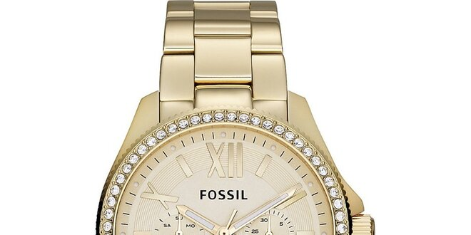 Dámské pozlacené analogové hodinky se zirkony Fossil