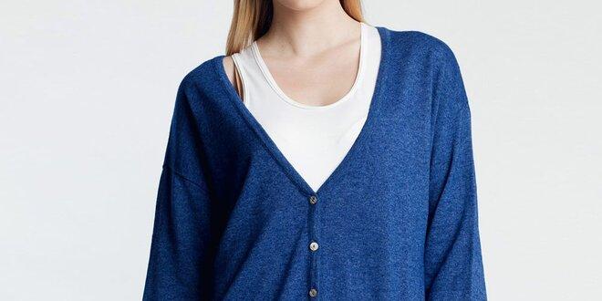 Dámský modrý volnější kardigan Nero su Bianco