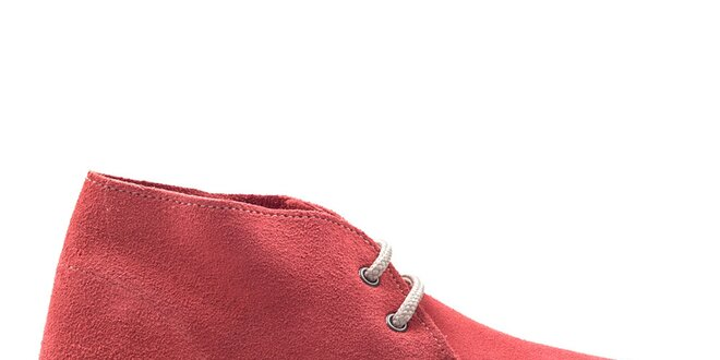 Dámské červené kotníkové boty s tkaničkami Roamers