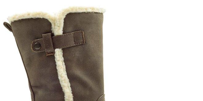 Dámské hnědé boty na zip Cats eyes