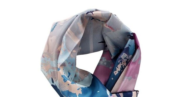 6f04f83d5df Dámský modro-růžový hedvábný šátek Fraas