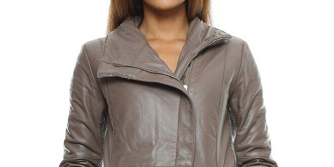 Dámský šedohnědý kožený kabát s pletenými zády Mangotti  306968fd9de