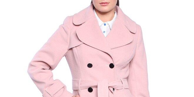 Dámský světle růžový dvouřadý kabát s páskem Vera Ravenna  a3e7f1bd54f