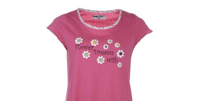 Dámská růžová noční košile s potiskem a volánkem Body International