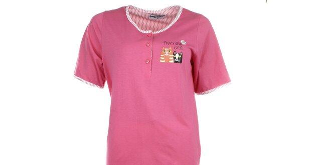 Dámské růžové pyžamo s puntíkatými kalhotami Body International