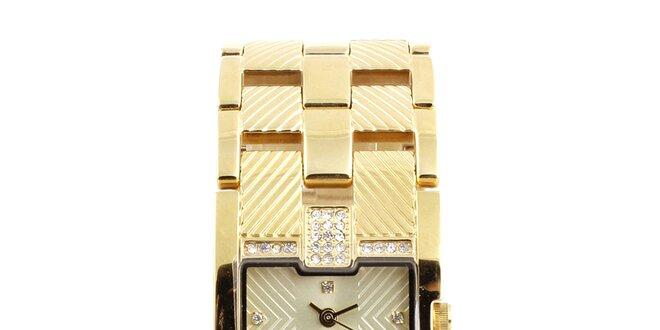 Dámské hodinky ve zlatém tónu s malými kamínky Axcent
