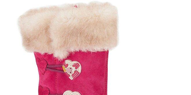 Dětské růžové boty s kožíškem a srdíčky Clarks