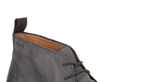 Pánské kožené kotníkové boty Clarks - černé