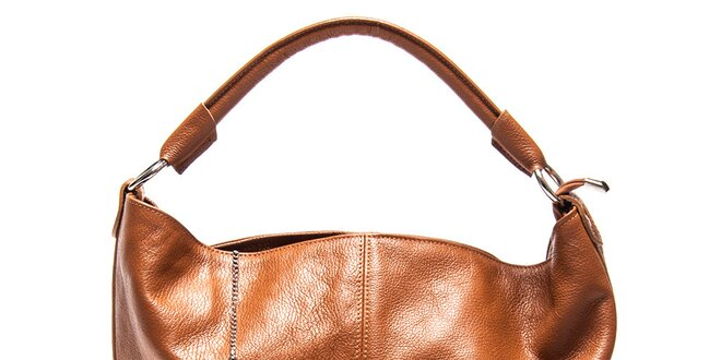 Dámská kožená kabelka s pevným uchem v koňakové barvě Luisa Vannini