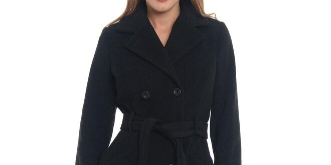 0c43ffdfc59 Dámský černý kabát s páskem Vera Ravenna
