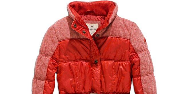 Dámský zimní červený kabát s páskem Timeout