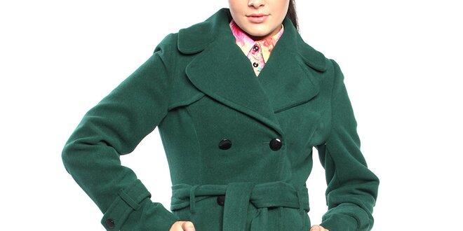 Dámský tmavě zelený dvouřadý kabát s páskem Vera Ravenna