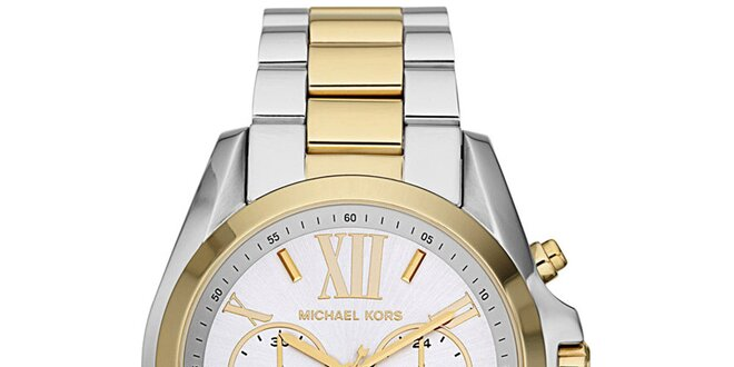 3bea465f7c Dámské hodinky s chronografem Michael Kors - stříbrná a zlatá barva ...