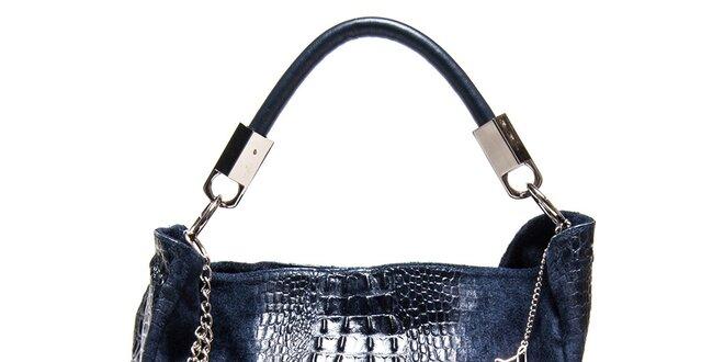 Dámská tmavomodrá kožená kabelka s motivem krokodýlí kůže Luisa Vannini